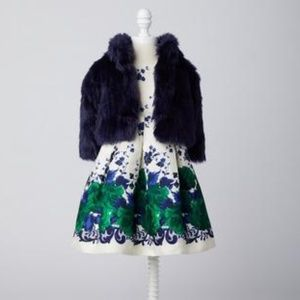 NWT Janie and Jack dress with matching fur coat